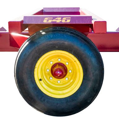 A round bale hauler wheel with cold-rolled axles spindles and a greasable hub