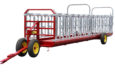 Full view of the front and left side of the cattle headlock feeder
