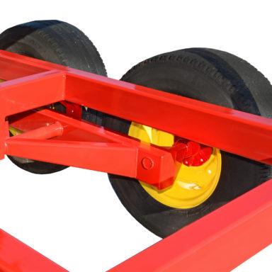 2 wheels connecting to portable bulk feed bins