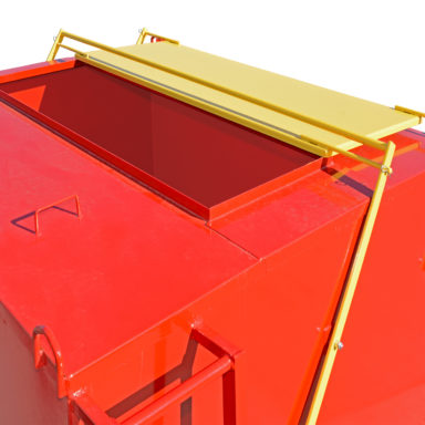 portable grain bin with a metal roof lid