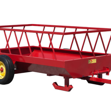 Corner view of hay feed wagon